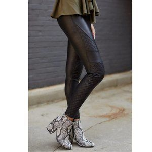 SPANX quilted faux leather moto leggings black